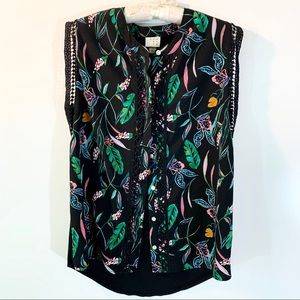 MULTICOLOR SLEEVELESS PALM LEAF PRINT TOP
